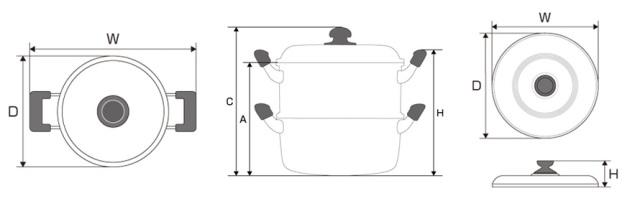 蒸し器寸法図